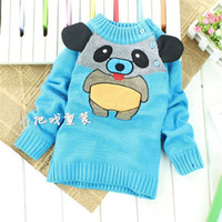 bear ear sweater - 2015 Korean child winter embroidered bear with ears pullover sweaters children cartoon sweaters V552