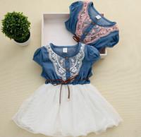 Wholesale Lace Denim Toddler Dress - Retail 2015 New Girls Summer Dress Baby Girl Lace Belt tutu Denim Dresses Children Patchwork mesh Summer Toddler Clothes