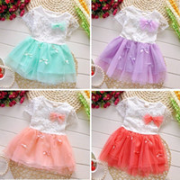 Wholesale Kids Toddler Baby Girls Princess Pageant Floral Lace Bow Tulle Dress Party Tutu Layered Dresses T