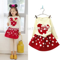 Wholesale Minnie Mouse BABY Girls Dress kids Costume Girl s Princess spring Long Sleeve dot print Dresses Children Clothing