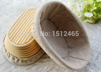 basket liners - New style Oval Banneton Brotform Dough Basket Proving Proofing Rattan Bread Basket With Linen Liner cm BL05