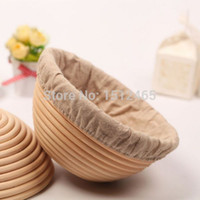 basket liners - Round Banneton Brotform Rattan Rising Bread Basket Proofing Proving Basket With Linen Liner cm BL19