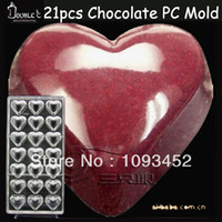 Wholesale Polycarbonate chocolate mold pc chocolate mold D Heart chocolate and confectionery formas para chocolate baking tool