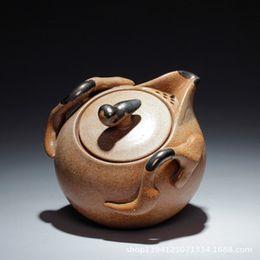 Wholesale Yixing stoneware teapot antique teapot tea set ceramic pots pure handmade coarse pottery hand pot