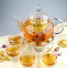 Wholesale Tea Set Heat Resisting Glass Teapot W Artistic Lid Cups Round Warmer Pumpkin pot coffee pot set glass clear tea set