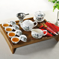 porcelain teapot white - Chinese white teapot teacup special offer Chinese porcelain tea set ceramic set solid wood tea tray sets