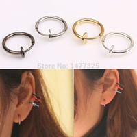 Wholesale Hot Sale Fashion Punk Clip On Fake Piercing Nose Lip Hoop Rings Earrings Colors