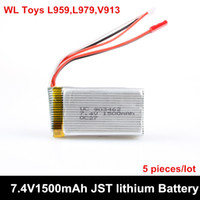 4wd parts - 5 piece V mAh S C Lipo Battery For WLtoys V913helicopter L959 L979 WD RC Hobby Buggy car Spare Parts Accessory
