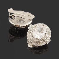 ba screws - cubic zirconia clip on earrings gold tone oval full crystal BA COLORS Beauty Paradise Rihood Trading