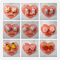 baby earring backs - new cute Children s resin earrings clip kitty cat earrings cartoon earring baby jewelry Birthday Gifts