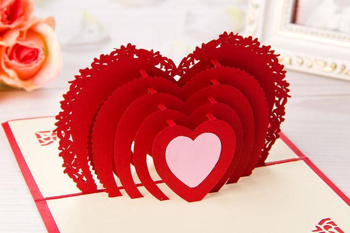 3d pop up greeting card  diy drawing  heart design card