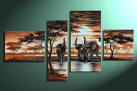 Wholesale 4 Panel Wall Art Paintings High Quality Handpainted Modern Abstract Oil Painting on Canvas Landscape Elephant Painting DGR684