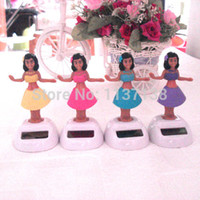battery power toys - Wholesale10 Per Dancing Under Full Light No Battery Novelty Solar Powered Hula Girl Toys Home Car Decoration