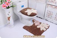 bathrooms suites - coffee flower patch three piece bathroom suite toilet seat cover mat sets