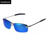 revo sunglasses a3ux  Wholesale-Mens brand designer sunglasses driving polarized sun glasses REVO  Coating Rectangle Rimless sunglass polaroid Blue Lens Eyewear