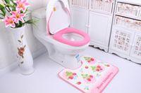 bath room sets - 2015 new Eco Friendly Strawberry three piece bathroom cloth toilet seat cover sets bath room toilet floor mats