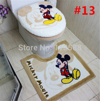 Wholesale 3pcs set Bathroom Essentials Toilet Seat Cover Cartoon Children Mouse Bathroom Rug Cover Mat Set HD1124
