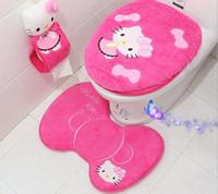 beautiful fleeces - New Arrival Beautiful Plush fleece bathroom mat carpet piece set toilet cover set o ring toilet mat and Mats