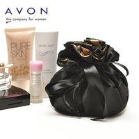 avon - AVON black satin ruffles lining inside rope bundle stripes Make up Collect bag jewelry bags women bags
