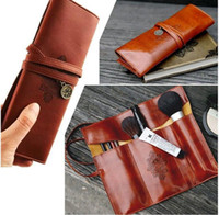 Cheap Women's Faux Leather Pencil Pen Case 2015 Fashion New Vintage String Cosmetic Makeup Bags Pouches Pocket Brush Holder