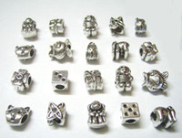 Wholesale 50pcs Mix Style Tibet Silver Charms Beads For DIY Craft European Bracelet Fashion Jewelry Gfit C18