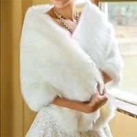 Wholesale Winter White Wedding Coat Bolero Bridal Wraps Jacket Retail Warm Faux Fur Spring Autumn Elegant Bridal Wedding Wrap Shawl