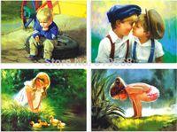 Tarjeta de la historieta de la niñez tarjetas postales Pinturas 16pcs / set Tarjeta Feliz Navidad / tarjeta de felicitación / deseo del envío libre / regalo de la manera
