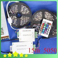 Cheap New DIY 15M 5050 RGB LED Strip + 24Key IR Controller + 20A Adapter 5050 RGB LED Strip Light Set Free Shipping