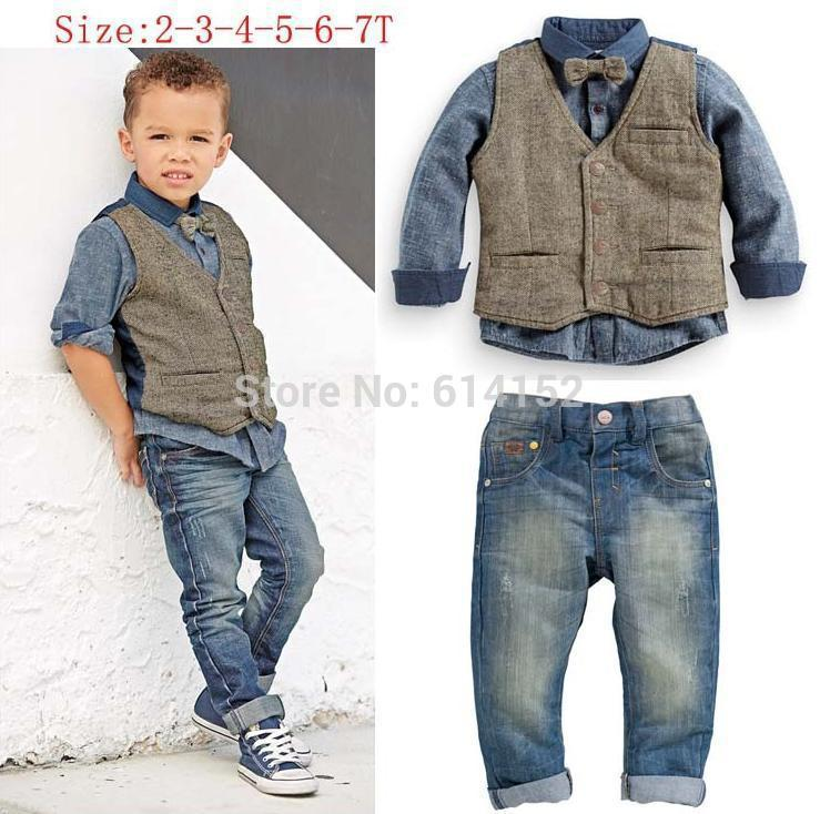 2015 Spring Kids Boys Clothes Boys Shirts Vest Jeans Denim Tie ...