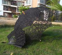 victorian parasol - vintage black handmade gothic lolita cotton SUN BATTEN victorian LACE PARASOL UMBRELLA and fan H108s