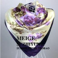Wholesale New Arrival Women Purple Flower Print oil painting square silk scarf women royal rose shawls