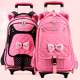 Wholesale child backpack outdoor camping Trolley Luggage children teenage student school bag Mochila Bolsas with wheels for girls