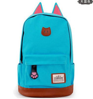 Wholesale New Hotsale Hot CUTE Cartoon Cat Ear Shoulder Bag Backpack Schoolbag Canvas Backpacks