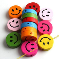 Wholesale 100pcs Mixed Assorted Colorful Smile Face Wooden Charms Spacer Beads Fit Bracelets DIY