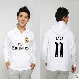 Wholesale 2015 New Real Madrid fans supplies Gareth Bale fleece pullover Hoodies jacket pullover hooded winter clothes