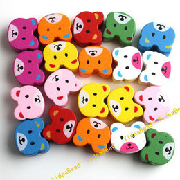Wholesale 200x Mixed Assorted Colorful Bear Wooden Charms Spacer Beads Fit Bracelets DIY Have in Stock