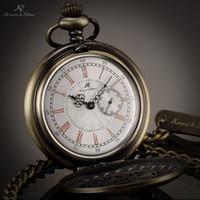 Cheap KS Antique Bronze Unique Skeleton Case Roman Numerals Japan Movement Quartz Analog Male Necklace Clock Men Pocket Watch   KSP049