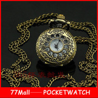 antique brass clock - New Arrive Mini Vine Style Brass Women Girl Ladies Pocket Watch Pendant Necklace Clock For Xmas Gift B029