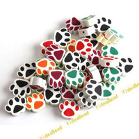 Wholesale 100x Hot Mixed Colorful Ceramic Fimo Bear Paw Charms Spacer Beads Fit Bracelets Have in Stock