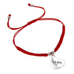 New Fashion Simple Design Handmade Red Rope Braided Silver Love Heart Mom Charm Wrap Bracelet Gift On Mother's Day Women