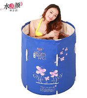 bathtub lift - Water can lift beauty folding tub bath bucket adult bathtub thickening plastic inflatable bathtub bath bucket