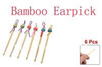 bamboo ear pick - Tricolor Japanese Doll Decor Bamboo Ear Wax Remover Ear Picks