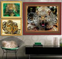 animal craft patterns - DIY Full Drill Diamond Embroidery Pattern Cross Stitch Diamond Paintings Needlework Mosaic Animal Wall Picture Leopard Crafts