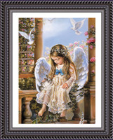 baby wall paintings - Needlework DIY D Cross stitch Set for Full Embroidery kits Guard Angel Baby Pray Catholic Count Cross Stitch Paint Wall Decro