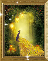 beautiful forest - Beautiful Golden Peacock Forest animal D Diamond painting embroidery Kit Crystal round diamond cross stitch Needlework