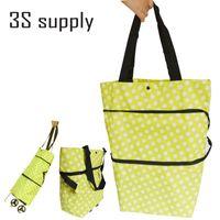 shopping cart - Reusable eco trolley shopping bag foldable shopping bag with wheels folding shopping cart grocery tote bag handbag shoulder bags