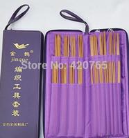 bamboo stitch knitting - New Knitting Needle Kits Carbonize Bamboo Straight Needles Ring Crochet Hooks Weave Stitches Knitting Circular Needle Set PU bag