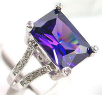 Women's alexandrite white gold rings - womens ring KT white gold GP rings alexandrite gemstone large gem party rings new gorgeous jewelry