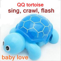 baby pet turtles - Funny baby sing crwal flash electric pets turtle toy pretty children Omni directional wheel creep doll gift