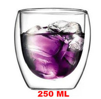 Wholesale 2pc ml double wall glass tea cups drinking glass cup set double walled heat insulated glass teacup set